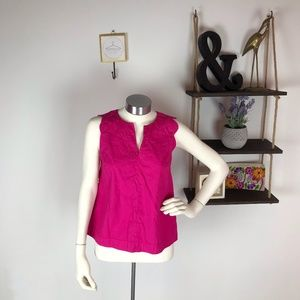 Maeve Anthro Pink Scallop Sleeve Top